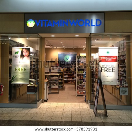 RIVER FALLS,WISCONSIN-FEBRUARY 09,2016: The Vitamin World sign and retail store. Vitamin World is headquartered in Bohemia,New York. - stock photo