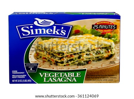 RIVER FALLS,WISCONSIN-JANUARY 11,2016: A box of Simek's brand frozen vegetable lasagna