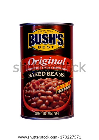 RIVER FALLS,WISCONSIN-JANUARY 26,2014: A can of Bush's baked beans. Bush's produces around 80 percent of the canned baked beans consumed in the United States. - stock photo