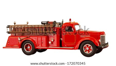 RIVER FALLS,WISCONSIN-JANUARY 19,2014: Vintage fire truck. Mack Trucks began building fire trucks in 1911.