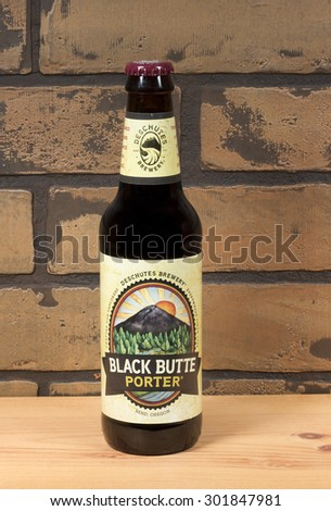 RIVER FALLS,WISCONSIN-JULY 31,2015: A bottle of Black Butte Porter beer. This beer is made by Deschutes Brewery of Bend,Oregon. - stock photo