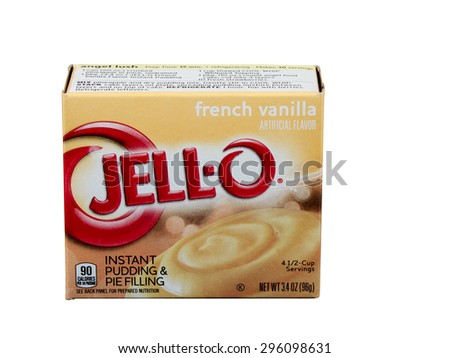 RIVER FALLS,WISCONSIN-JULY 13,2015: A box of Jell-O brand French Vanilla pudding. Jell-O is a brand owned by Kraft Foods. - stock photo