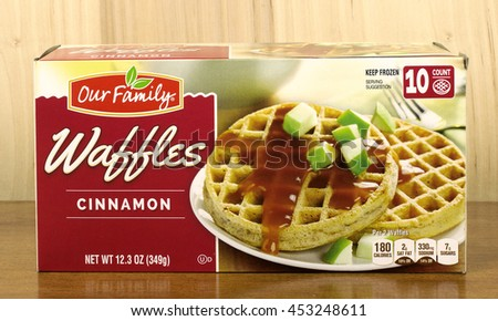 RIVER FALLS,WISCONSIN-JULY 16,2016: A carton of Our Family brand cinnamon flavored waffles. - stock photo