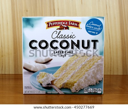RIVER FALLS,WISCONSIN-JULY 10,2016: A classic coconut layer cake by Pepperidge Farm. - stock photo