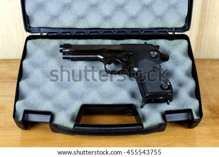 RIVER FALLS,WISCONSIN-JULY 19,2016: A vintage Helwan nine millimeter semi-auto pistol. This pistol was made in Egypt by Maadi Company. - stock photo