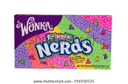 RIVER FALLS,WISCONSIN-JUNE 2, 2014: A box of Wonka brand Nerds candy. This candy is a U.K. brand owned by Nestle Corporation. - stock photo