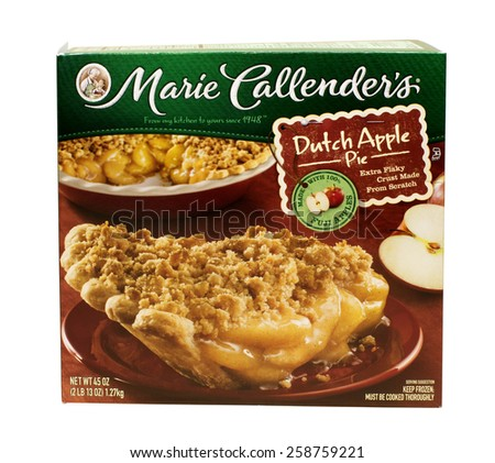 RIVER FALLS,WISCONSIN-MARCH 08,2015: A box containing a Marie Callender's Dutch Apple pie. Marie Callender's is headquartered in Mission Viejo,California. - stock photo