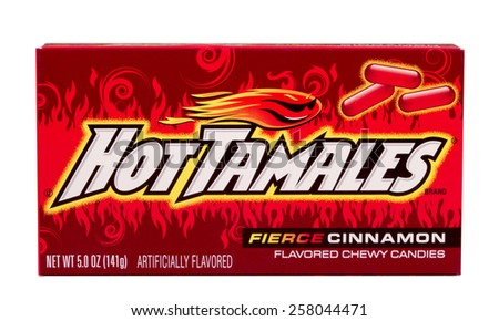 RIVER FALLS,WISCONSIN-MARCH 04,2015: A box of Hot Tamales Cinnamon flavored candies. This candy is a product of Just Born Incorporated. - stock photo