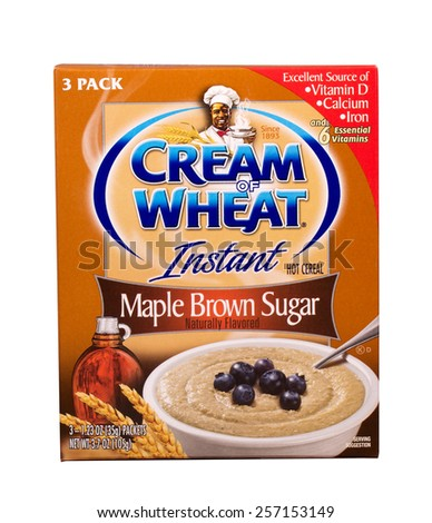 RIVER FALLS,WISCONSIN-MARCH 02,2015: A box of Maple and Brown Sugar flavored instant Cream of Wheat. - stock photo