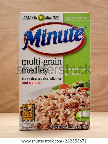 RIVER FALLS,WISCONSIN-MARCH 20,2015: A box of Minute Rice multi-grain medley. Minute Rice was introduced in Nineteen Forty Nine. - stock photo