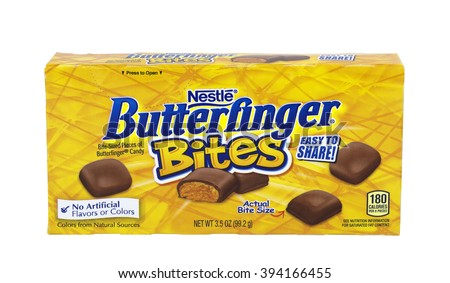 RIVER FALLS,WISCONSIN-MARCH 21,2016: A box of Nestle brand Butterfinger Bites.Nestle is one of the world's largest producer of candy.