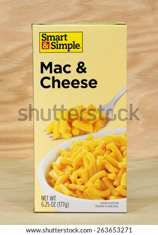 RIVER FALLS,WISCONSIN-MARCH 24,2015: A box of Smart and Simple macaroni and cheese. Smart and Simple products are distributed by Dolgencorp LLC of Goodlettsville,Tennessee. - stock photo