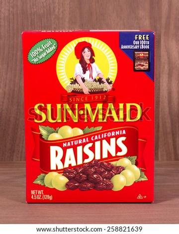 RIVER FALLS,WISCONSIN-MARCH 08,2015: A box of Sun-Maid California raisins. Sun-Maid Growers is headquartered in Kingsberg,California. - stock photo