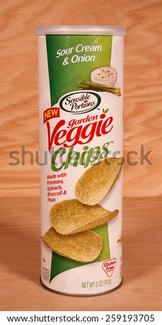 RIVER FALLS,WISCONSIN-MARCH 09,2015: A can of Sour Cream and Onion flavored veggie chips. These chips are made with potatoes,spinach,broccoli,and peas. - stock photo