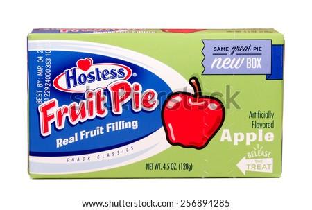 RIVER FALLS,WISCONSIN-MARCH 01,2015: A Hostess brand apple flavored fruit pie. Hostess Brands LLC. is headquartered in Kansas City,Missouri - stock photo