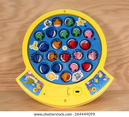 RIVER FALLS,WISCONSIN-MARCH 28,2015: A Let's Go Fishing game by Pressman Toy Company of New York City. - stock photo