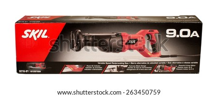 RIVER FALLS,WISCONSIN-MARCH 24,2015: A Skil brand electric reciprocating saw. Skil tools are provided by Robert Bosch Tool Corporation. - stock photo