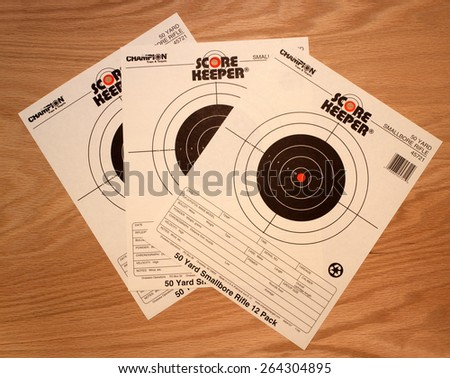 RIVER FALLS,WISCONSIN-MARCH 27,2015: Three paper targets used for smallbore rifle practice. These targets are a product of Champion Traps and Targets. - stock photo