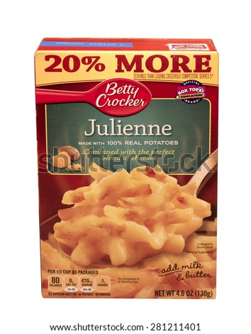 RIVER FALLS,WISCONSIN-MAY24,2015: A box of Betty Crocker brand Julienne Potatoes. Betty Crocker products are distributed by General Mills. - stock photo