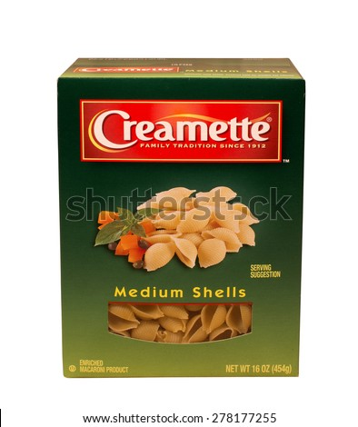RIVER FALLS,WISCONSIN-MAY15,2015: A box of Creamette brand shell macaroni. Creamette is a product of New World Pasta Company. - stock photo