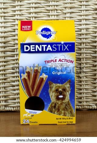 RIVER FALLS,WISCONSIN-MAY 22,2016: A box of Dentastix brand dog treats by Pedigree. - stock photo