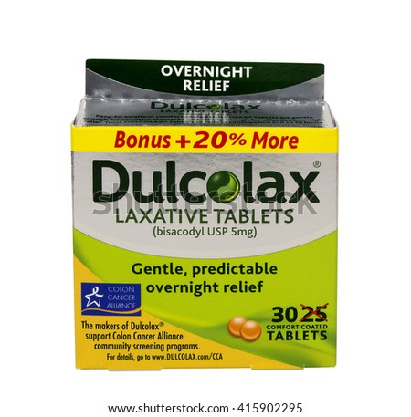 RIVER FALLS,WISCONSIN-MAY 05,2016: A box of Dulcolax brand coated laxative tablets. Dulcolax is a product of Boehringer Incelheim Pharmaceuticals.