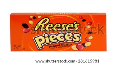 RIVER FALLS,WISCONSIN-MAY26,2015: A box of Reese's Pieces peanut butter candy. Reese's products are distributed by The Hershey Company. - stock photo