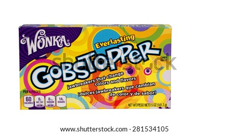 RIVER FALLS,WISCONSIN-MAY25,2015: A box of Wonka Gobstopper candy. Wonka is a brand owned by Nestle of Switzerland. - stock photo