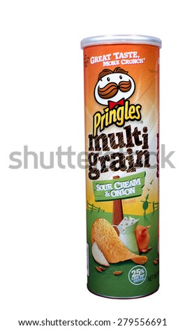 RIVER FALLS,WISCONSIN-MAY19,2015: A can of Pringles brand Multi Grain chips. Pringles chips are distributed by the Kellogg Company. - stock photo