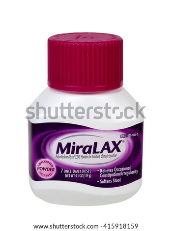 RIVER FALLS,WISCONSIN-MAY 05,2016: A container of Miralax brand powdered laxative. Miralax is a product of Bayer AG of Germany.