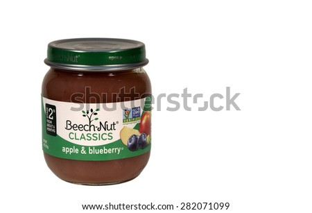 RIVER FALLS,WISCONSIN-MAY28,2015: A jar of Beech-Nut Apple and Blueberry baby food. This product is distributed by Beech-Nut Nutrition Corporation. - stock photo