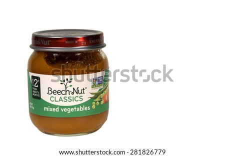 RIVER FALLS,WISCONSIN-MAY26,2015: A jar of Beech-Nut mixed vegetables baby food. This product is distributed by Beech-Nut Nutrition Corporation. - stock photo