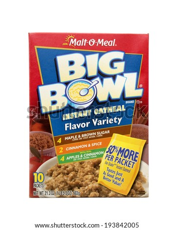 RIVER FALLS,WISCONSIN-MAY 20, 2014: A package of Malt-O-Meal Big Bowl instant oatmeal. MOM Brands Company is based in Minneapolis,Minnesota. - stock photo