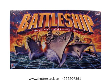 RIVER FALLS,WISCONSIN-NOVEMBER 9,2014: A Battleship board game by Milton Bradley. Battleship was released as a plastic board game in Nineteen Sixty Seven. - stock photo