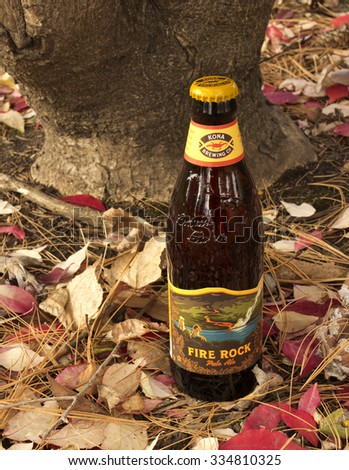 RIVER FALLS,WISCONSIN-NOVEMBER 03,2015: A bottle of Fire Rock Pale Ale. This ale is a product of Kona Brewing Company of Kailua-Kona,Hawaii. - stock photo
