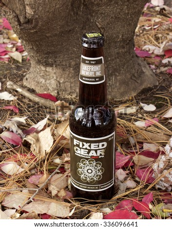 RIVER FALLS,WISCONSIN-NOVEMBER 06,2015: A bottle of Fixed Gear Red Ale. This beer is a product of Lakefront Brewery of Milwaukee,Wisconsin - stock photo