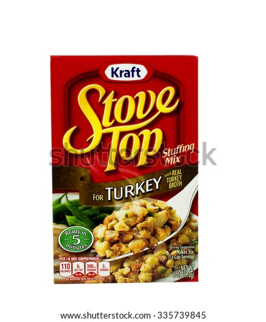 RIVER FALLS,WISCONSIN-NOVEMBER 05,2015: A box of Kraft brand Turkey stuffing mix. Kraft is an official sponsor of both Major League Soccer and the National Hockey League. - stock photo