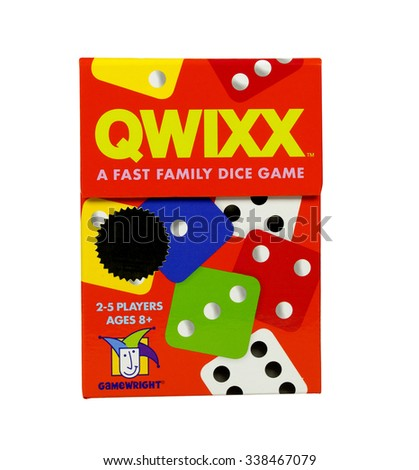 RIVER FALLS,WISCONSIN-NOVEMBER 12,2015: A box of Qwixx game pieces. Qwixx is distributed by Fat Brain Toys. - stock photo