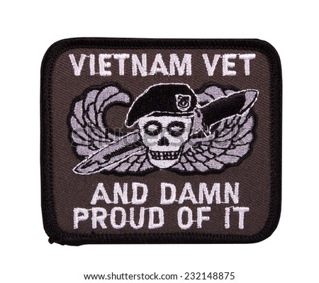 RIVER FALLS,WISCONSIN-NOVEMBER 19,2014: A patch stating that the owner is proud to be a Vietnam veteran. - stock photo