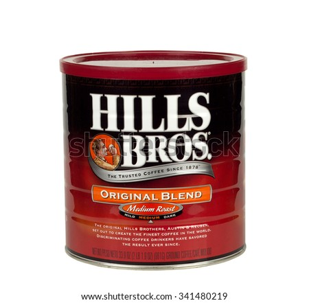 RIVER FALLS,WISCONSIN-NOVEMBER 20,2015: A two pond can of Hills Brothers original blend coffee. - stock photo