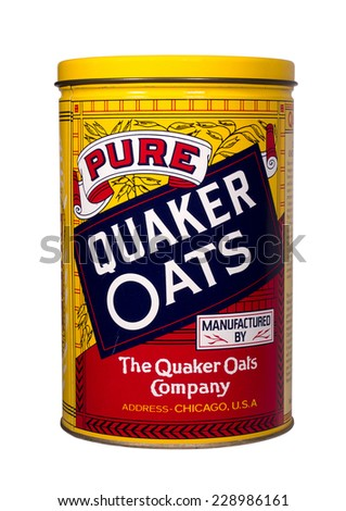 RIVER FALLS,WISCONSIN-NOVEMBER 8,2014: A vintage Quaker Oats tin. The Quaker Oats Company is based in Chicago,Illinois. - stock photo
