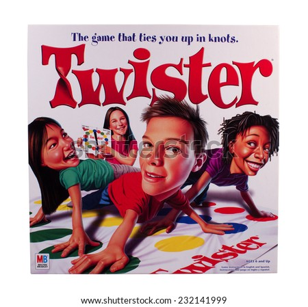RIVER FALLS,WISCONSIN-NOVEMBER 21,2014: Twister game box by Milton Bradley. Twister was first introduced in Nineteen Sixty Six. - stock photo