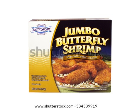 RIVER FALLS,WISCONSIN-OCTOBER 31,2015: A box of Arctic Shores brand jumbo butterfly shrimp. Arctic Shores is a brand owned by SuperValu Incorporated. - stock photo
