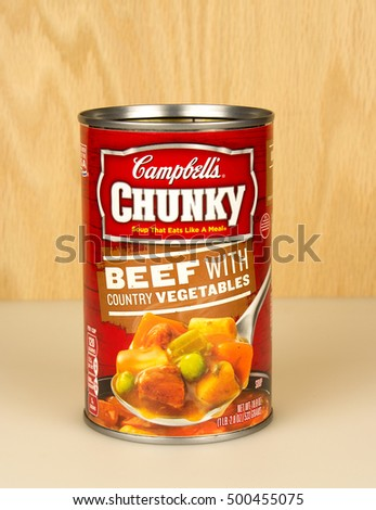 RIVER FALLS,WISCONSIN-OCTOBER 18,2016: A can of Campbell's brand beef with country vegetables soup.