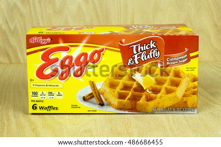 RIVER FALLS,WISCONSIN-SEPTEMBER 21,2016: A box of Eggo brand frozen waffles with a wood background. Eggo is a brand of Kellogg's Inc.