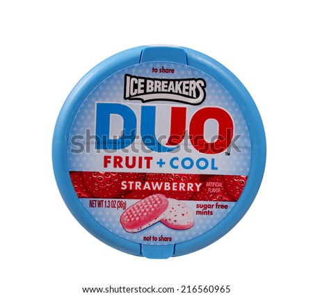 RIVER FALLS,WISCONSIN-SEPTEMBER 10,2014: A tin of Ice Breakers,Duo strawberry mints. These mints are a product of The Hershey Company. - stock photo