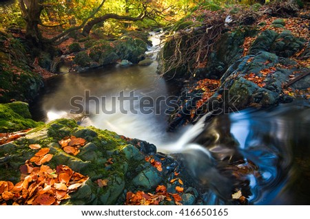 River flowing through rocks forming a pool in a forrest. autumn leaves on the rocks. Trees on the banks of the river. - stock photo
