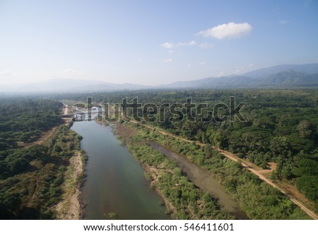 River from top view by drone in northern Thailand, Lampang