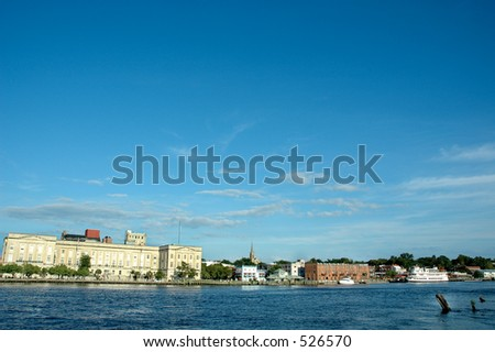 River front view of city - stock photo