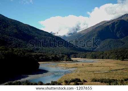 River going through a valley